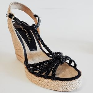 Casteller Espadrille Black Wedge Heels